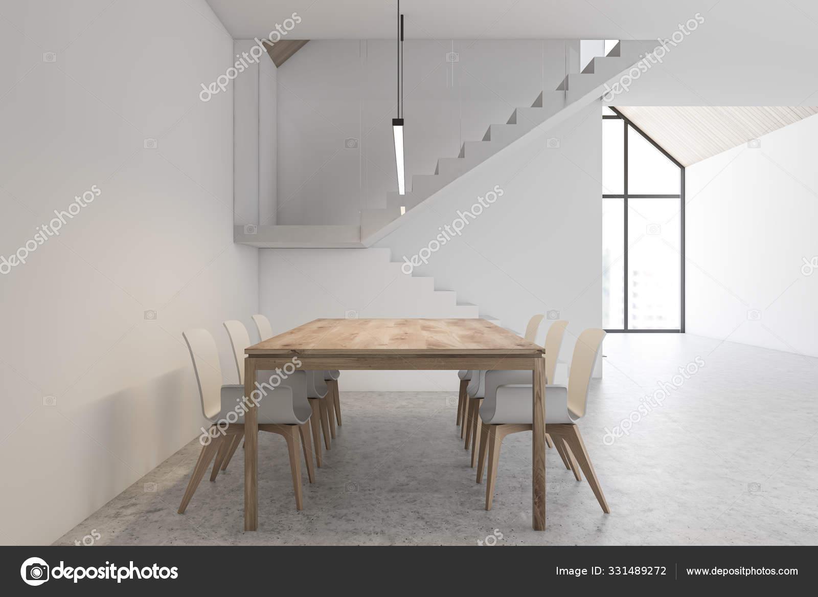 White Dining Room Interior With Stairs Stock Photo C Denisismagilov 331489272