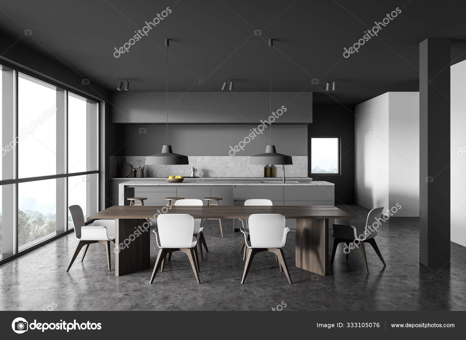 Gray And White Kitchen Interior With Table Stock Photo C Denisismagilov 333105076