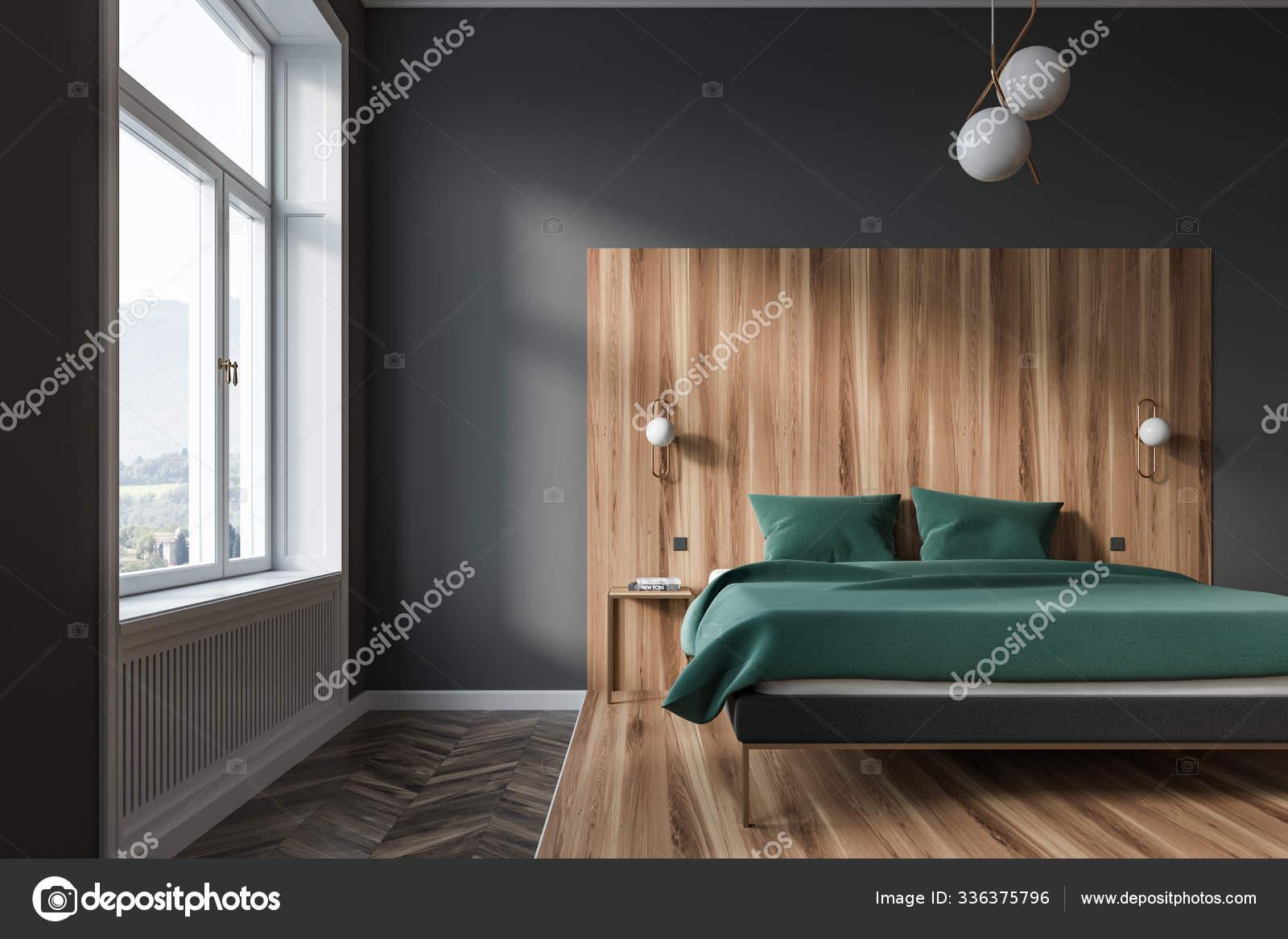 Grau Und Holz Schlafzimmer Innenausstattung Grunes Bett Stockfotografie Lizenzfreie Fotos C Denisismagilov 336375796 Depositphotos