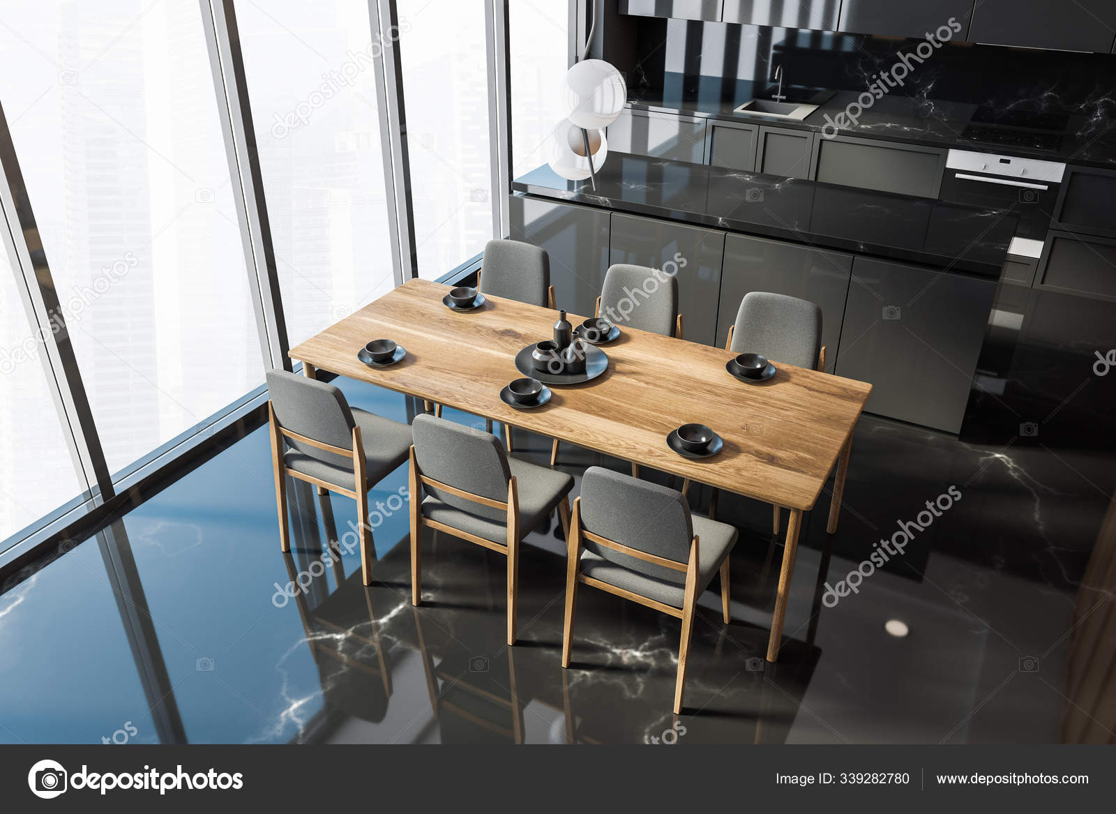 Picture of: Black Marble Kitchen With Table Top View Stock Photo C Denisismagilov 339282780