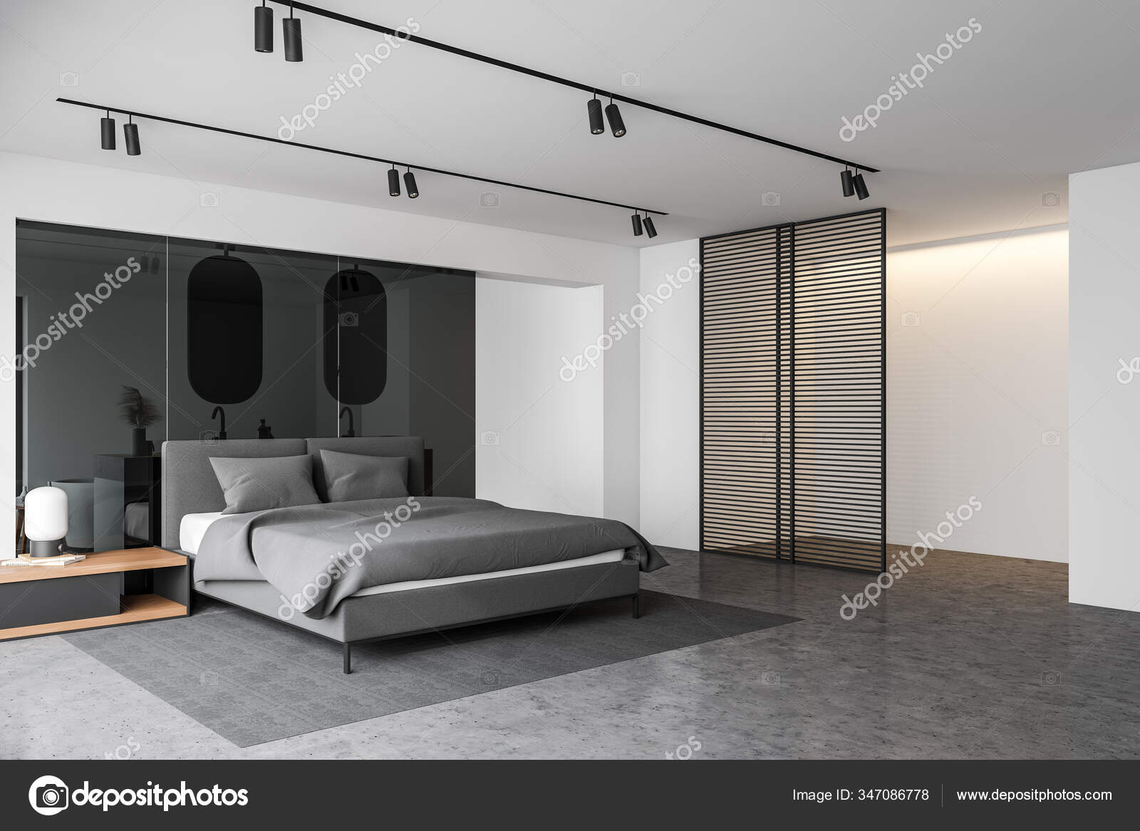 Corner Stylish Master Bedroom White Glass Walls Concrete Floor Comfortable Stock Photo C Denisismagilov 347086778