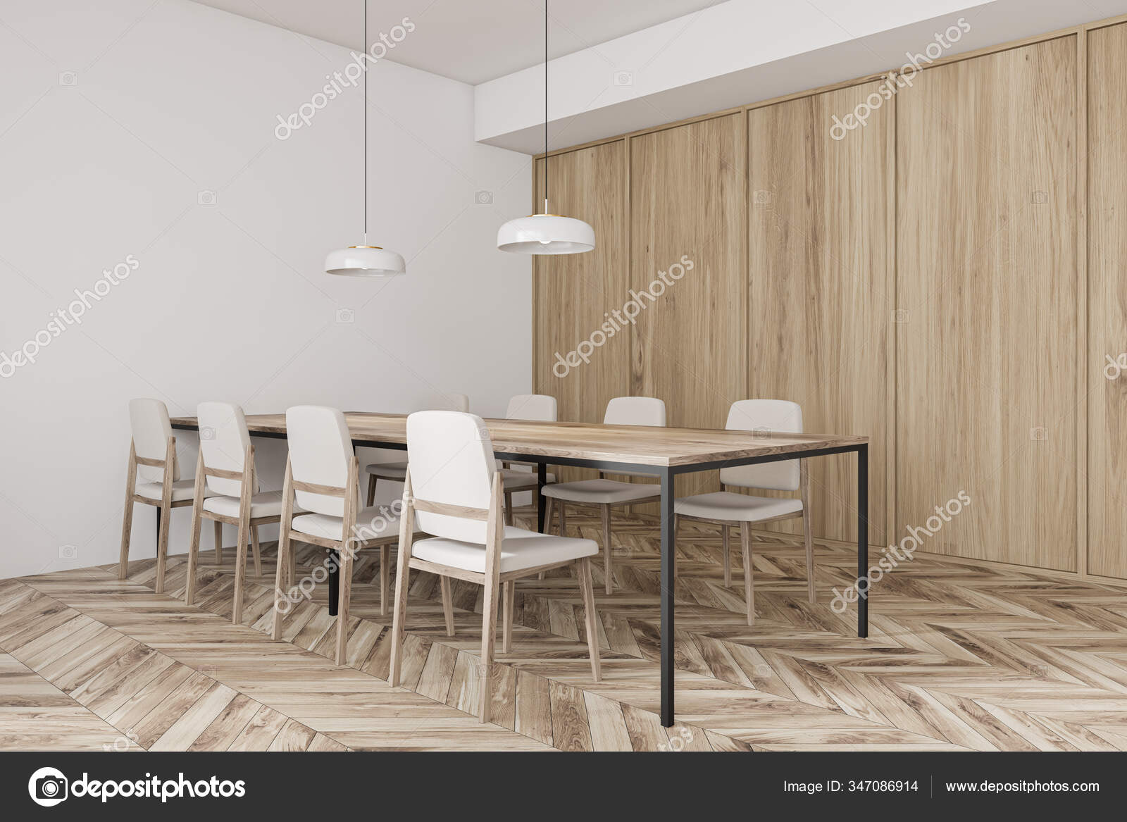 Long Wooden Dining Table Modern Traditional Restaurant White Wooden Walls Stock Photo Image By C Denisismagilov 347086914