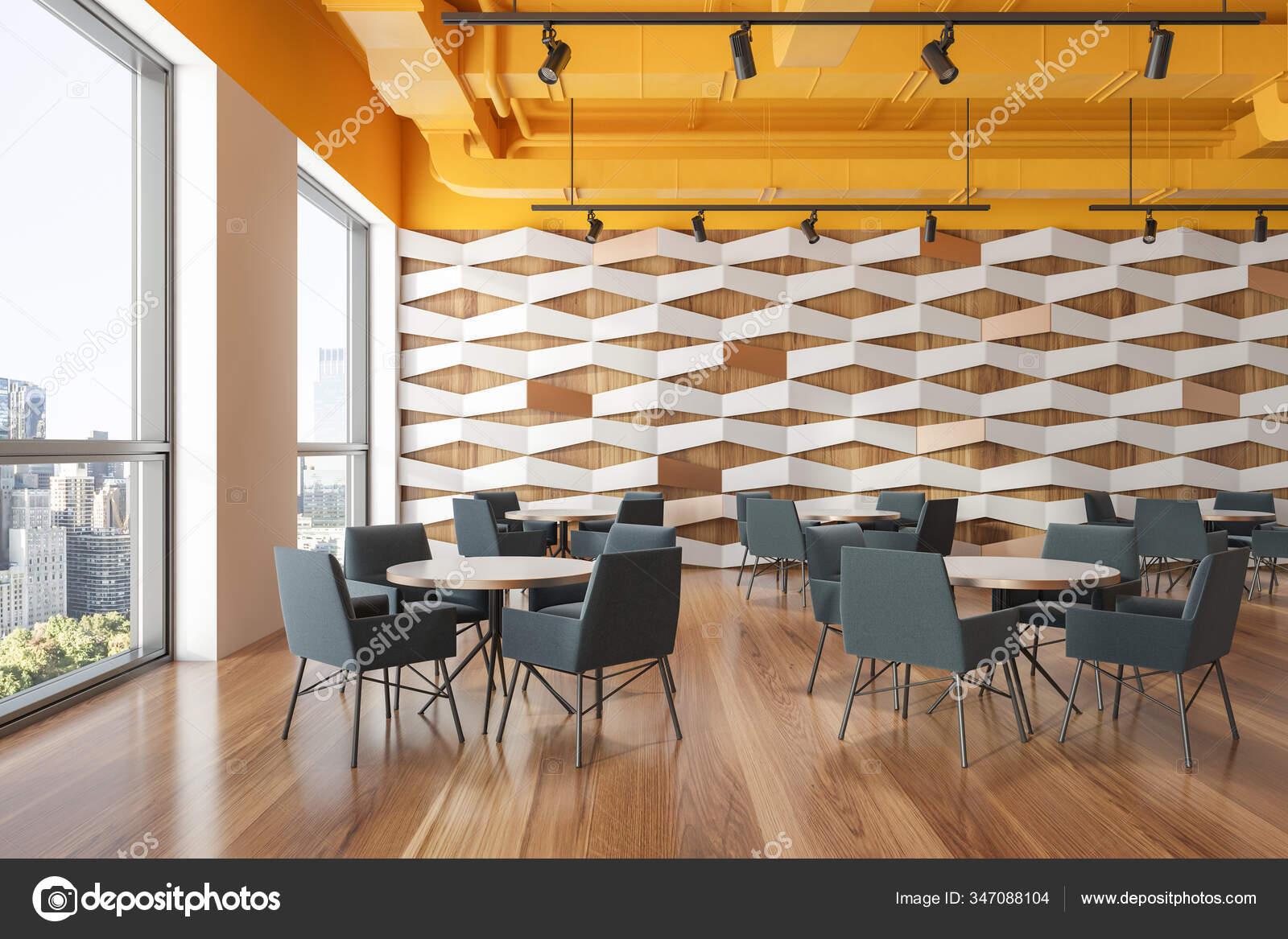 Interior Modern Industrial Style Restaurant White Geometric Pattern Walls Yellow Stock Photo C Denisismagilov 347088104