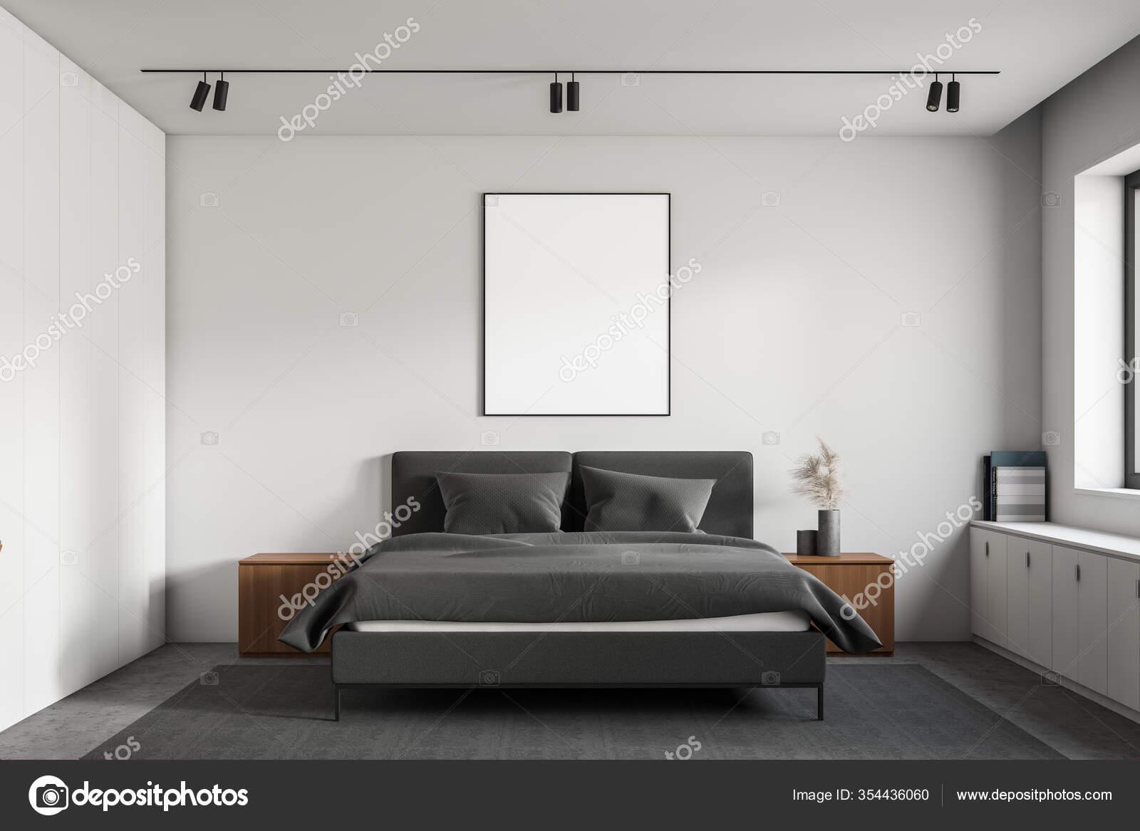 Interior Minimalistic Master Bedroom White Walls Concrete Floor Comfortable King Stock Photo C Denisismagilov 354436060