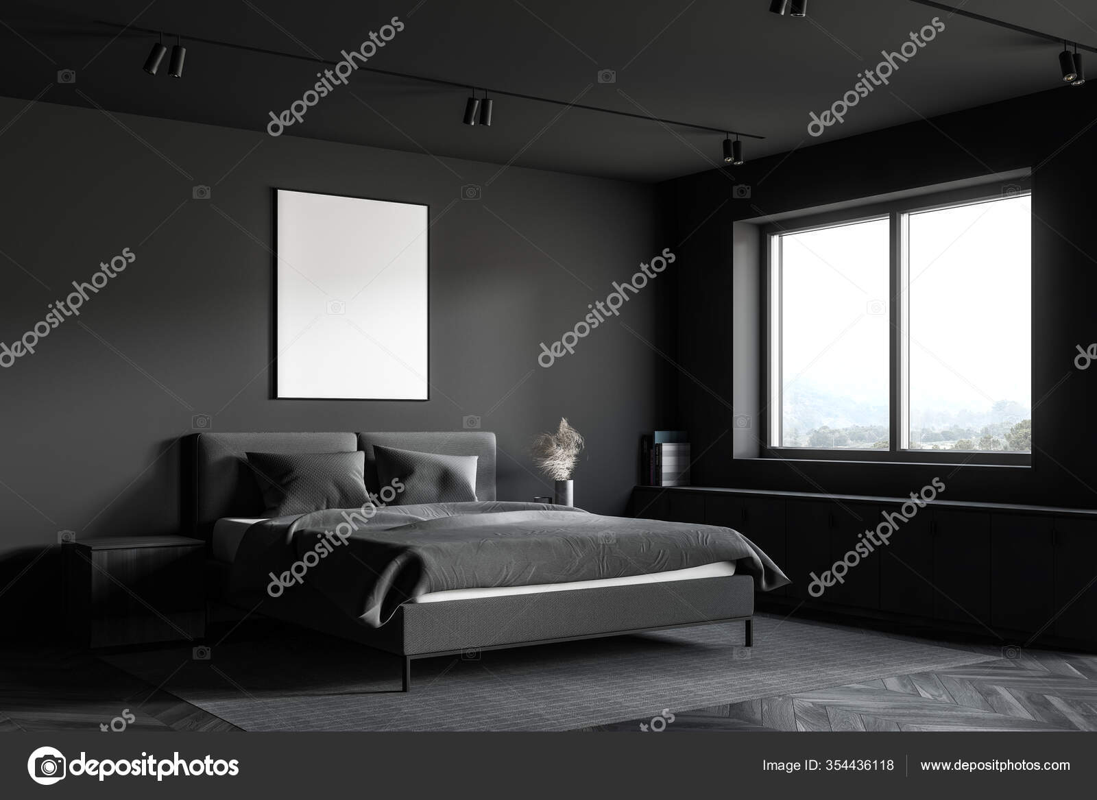 Interior Minimalistic Master Bedroom Grey Walls Dark Wooden Floor Comfortable Stock Photo Image By C Denisismagilov 354436118