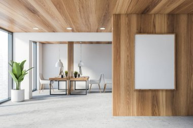 Interior of stylish consulting company office with white and wooden walls, wooden ceiling, tiled floor and wooden computer tables with white chairs. Vertical mock up poster. 3d rendering