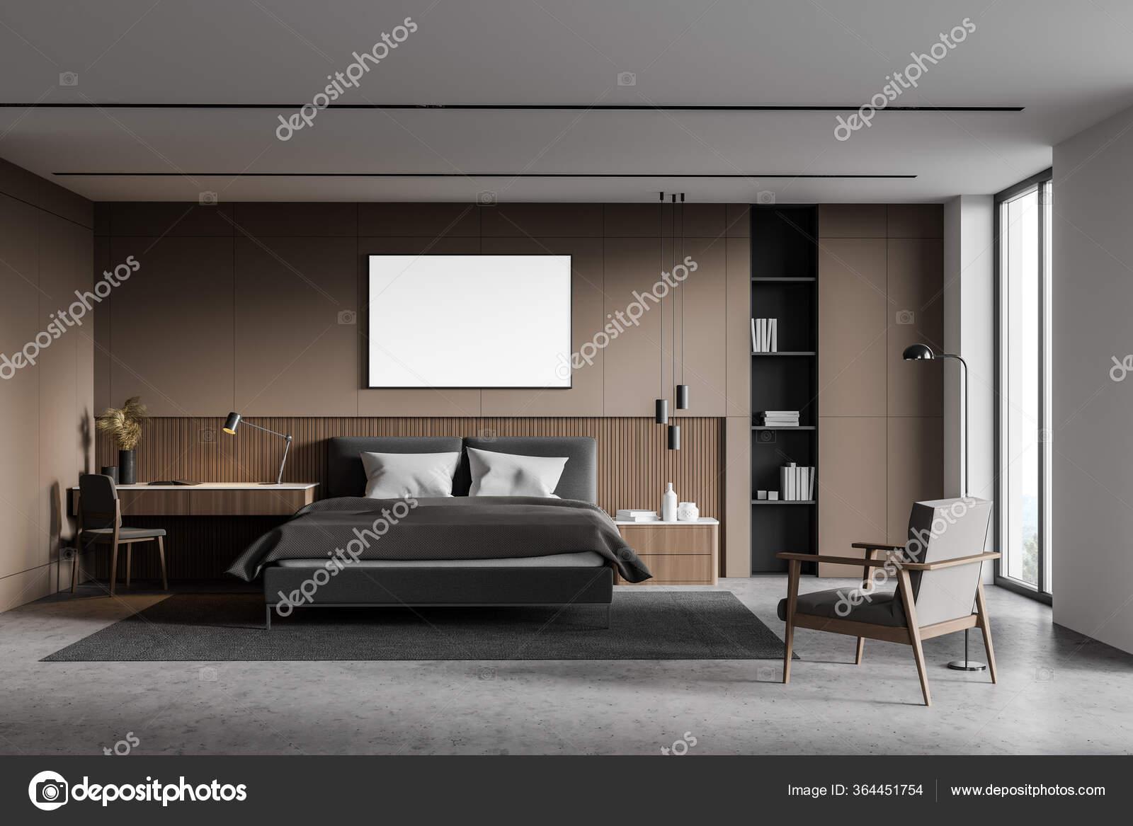 Interior Master Bedroom Beige White Walls Concrete Floor Cozy King Stock Photo C Denisismagilov 364451754