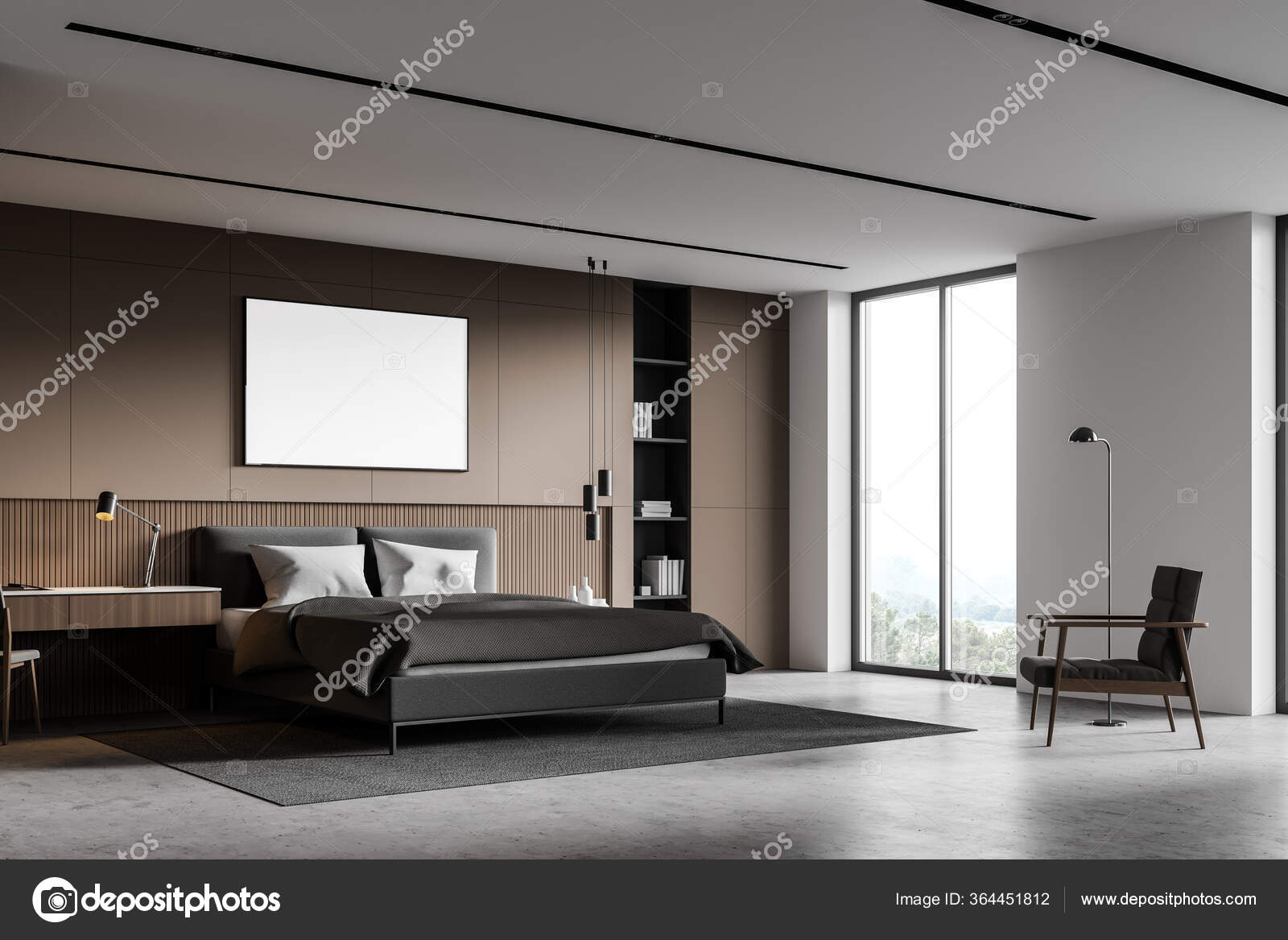 Corner Master Bedroom Beige White Walls Concrete Floor Cozy King Stock Photo Image By C Denisismagilov 364451812