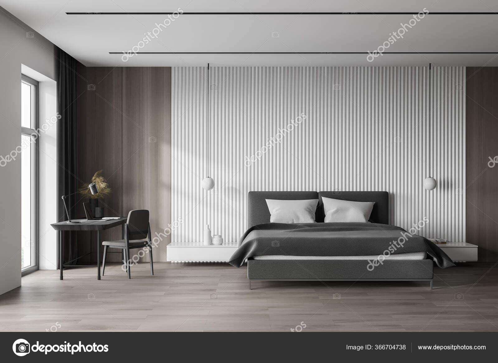 Interior Stylish Master Bedroom Scandinavian Style White Wooden Walls Wooden Stock Photo Image By C Denisismagilov 366704738