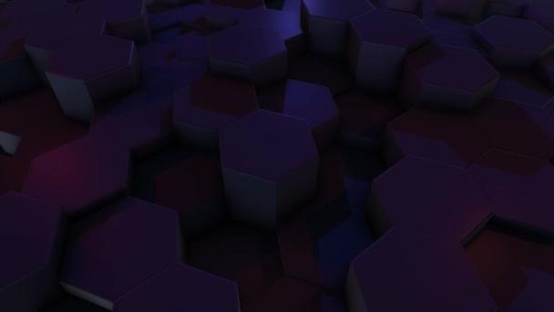 Nahaufnahme 3D-Animation eines lila Sechsecks, das sich im Dunkeln nach oben und unten bewegt.