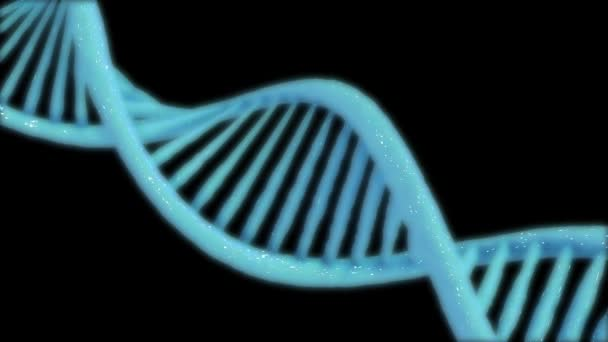 Animated hologram of blue glowing rotating DNA double helix on black background.