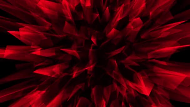 Video animation with moving red crystals looks like flower on black background.