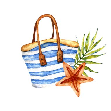 Watercolor summer collection. Composition with tropical leaves, flowers, fruit. Useful for