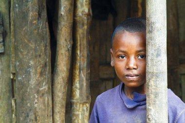 African boy in Malgasy village
