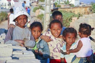 Unknown african children in Malgasy village.