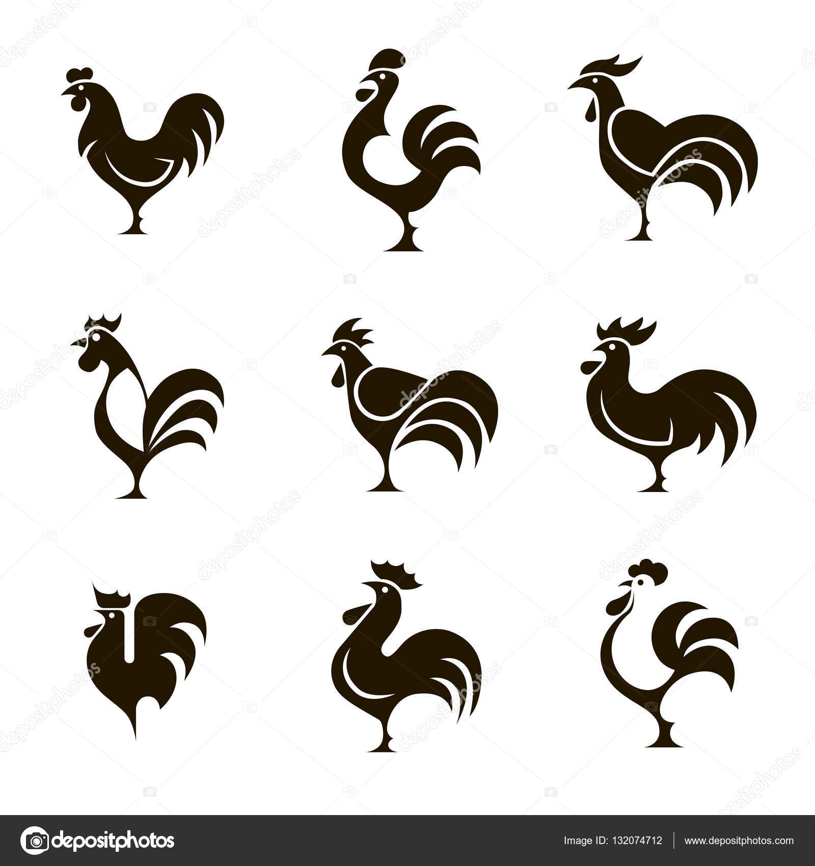 9 black and white icons roosters stock vector radzko 132074712