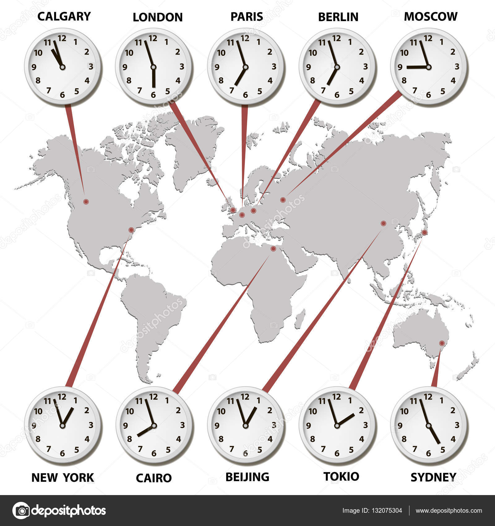 World map with time zones world capitals stock vector radzko vector map of the world of gray with clocks showing world times vector by radzko gumiabroncs Images
