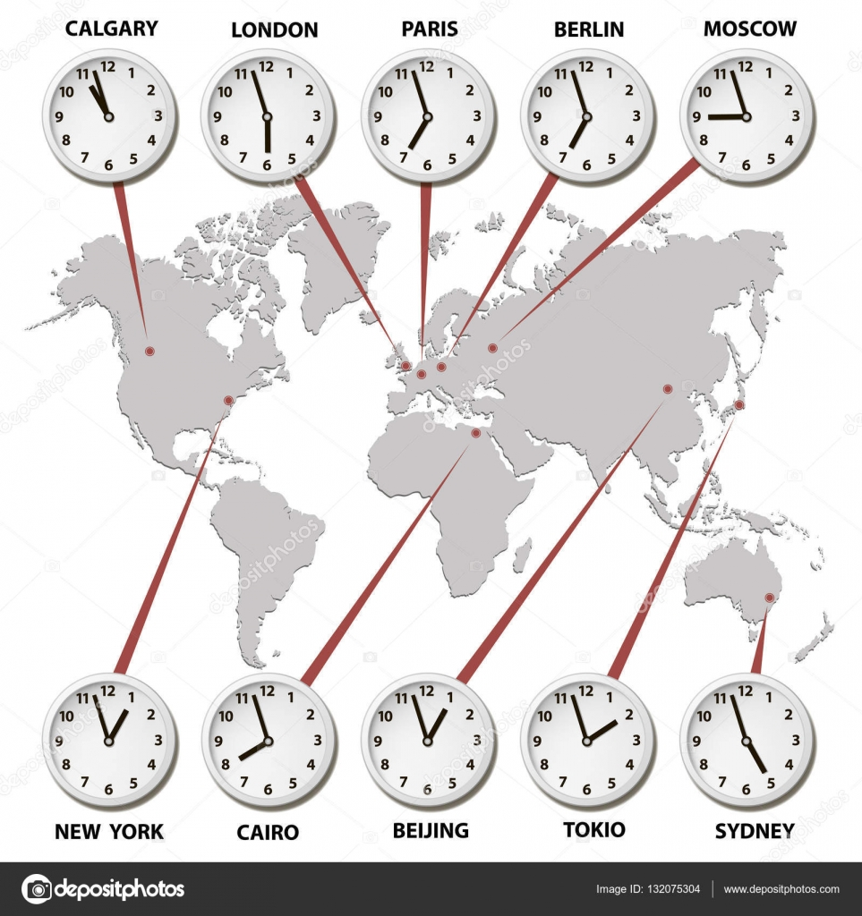 World map with time zones world capitals stock vector radzko vector map of the world of gray with clocks showing world times vector by radzko gumiabroncs