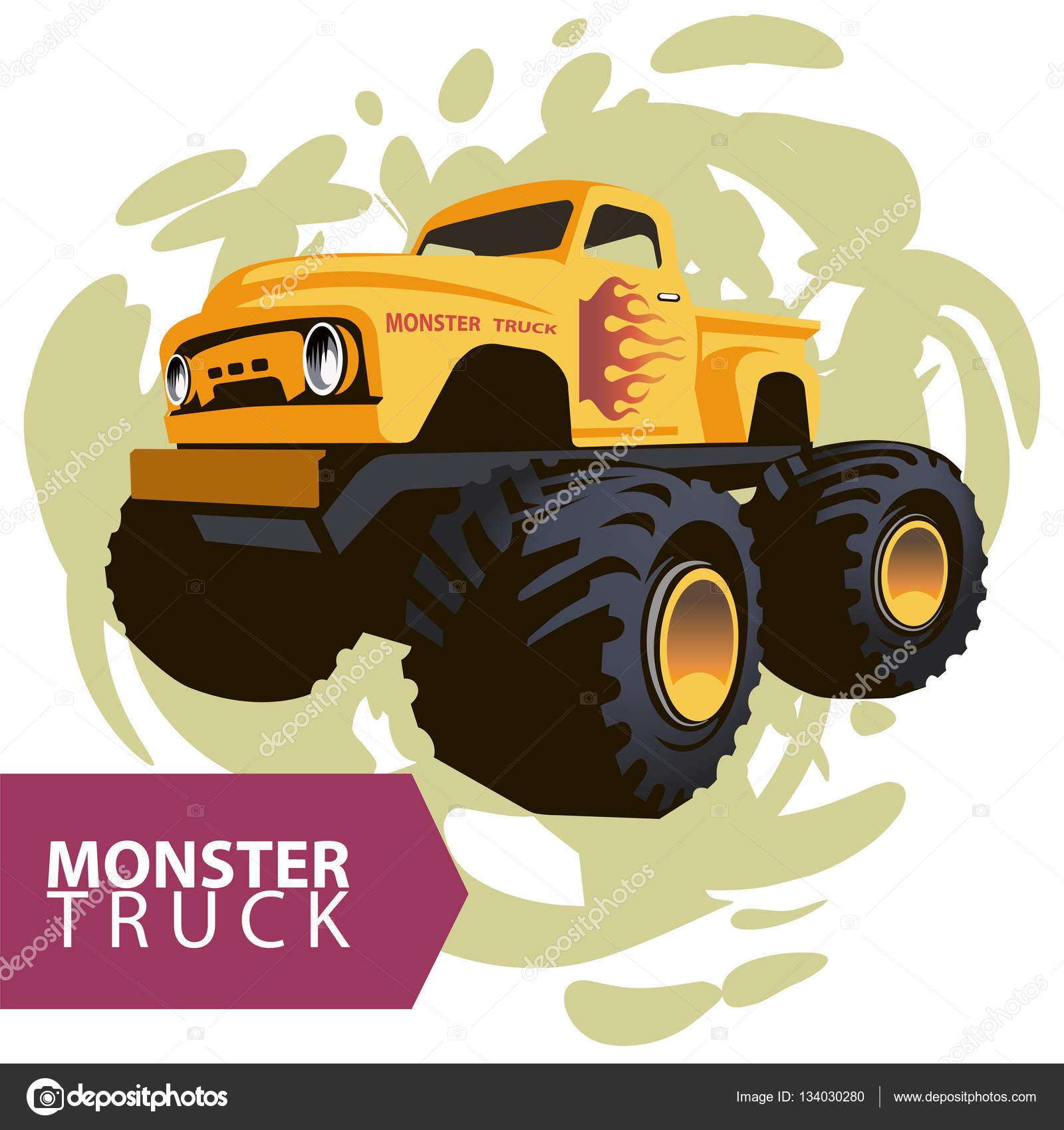 Vector yellow monster truck — Stock Vector © Radzko #134030280