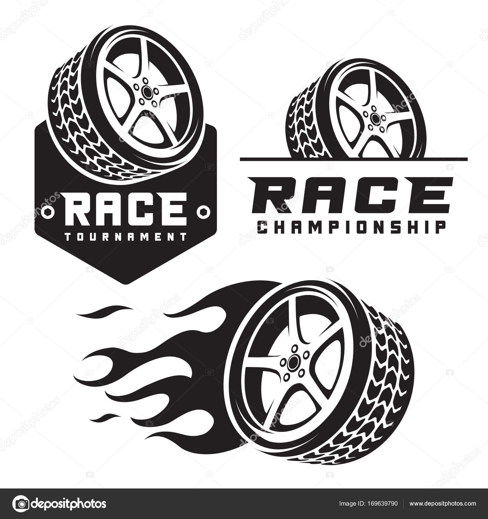 Set Of Car Wheel Fire Racing Emblems Logo Template Vector Image By C Nazim Absemetov Vector Stock 169639790