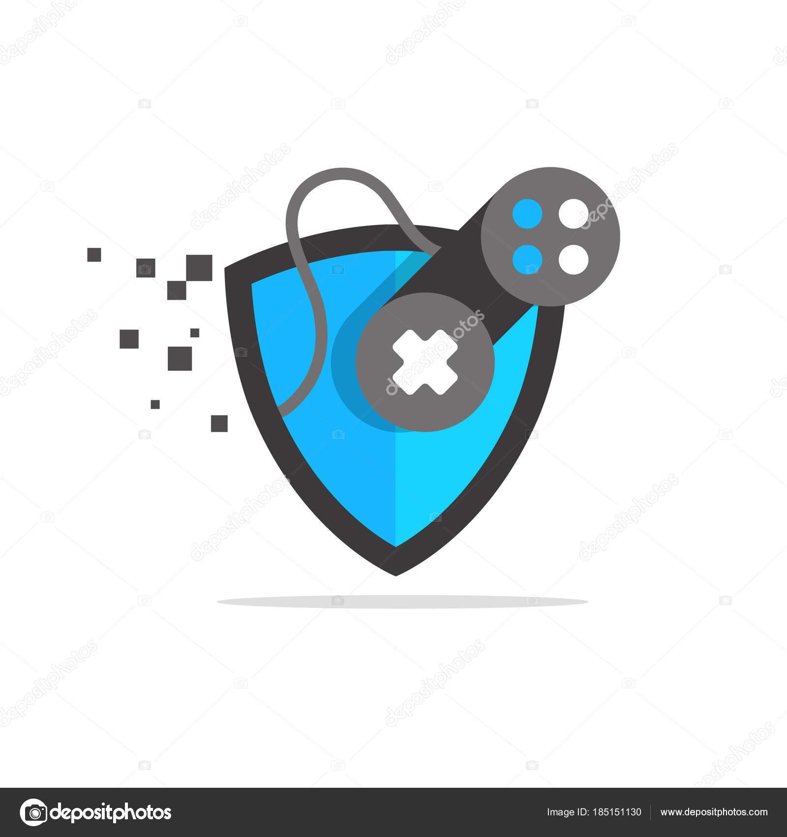 Juegos Logo Joypad Con Juego Escudo Seguro Archivo Imagenes