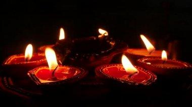 Candles And Oil Lamps Deepak Deepavali Stock Footage