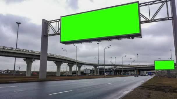 Billboard green screen near the transport interchange. time laps