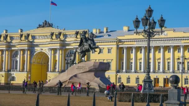 St. Petersburg. Socha bronzová jezdec. čas laps.11.04.2017