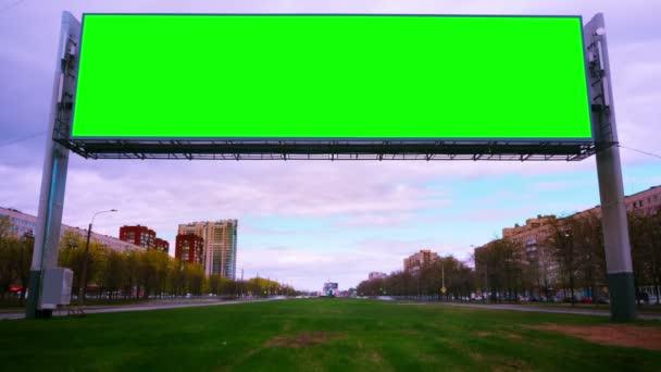 Billboard green screen about high-speed roads. timelapse