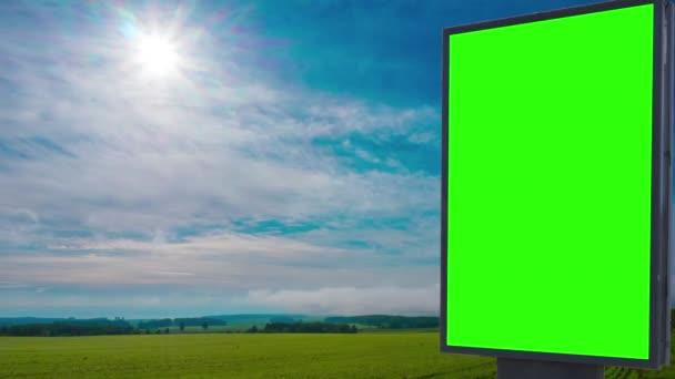 Billboard zelené obrazovky v poli
