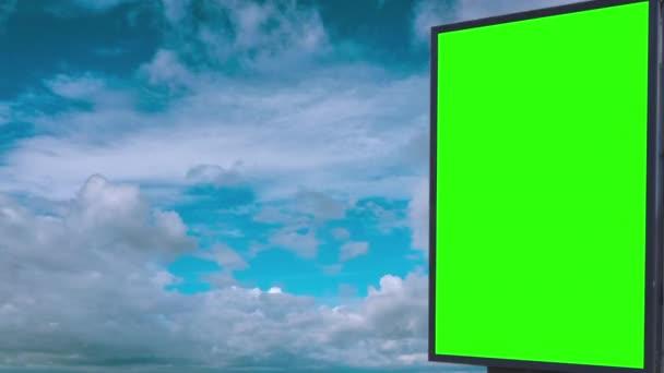 Billboard green screen on sky background