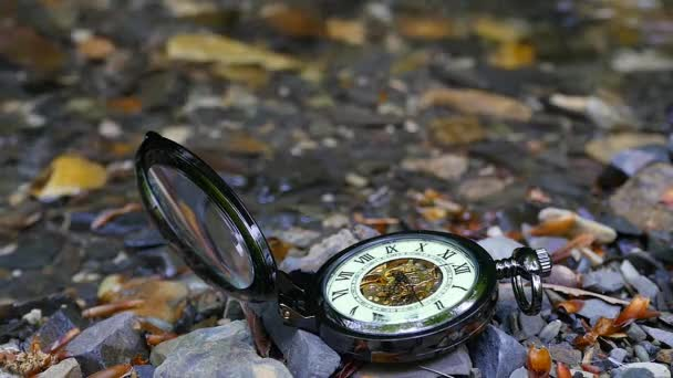 Pocket watch with river in background