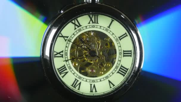 The pocket watch is spinning. Close-up