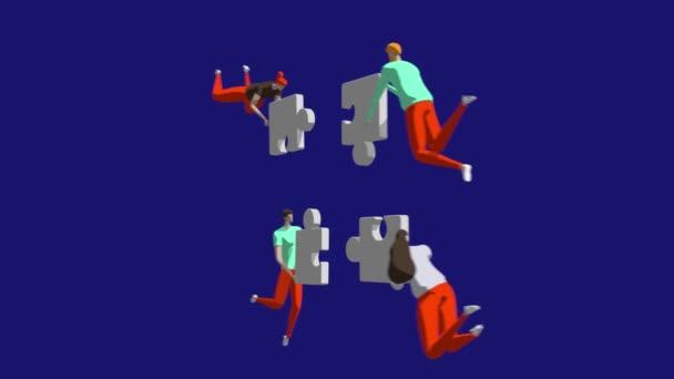 Jól koordinált csapatmunka koncepció. Karakterek összekapcsolása puzzle darab. 4k. Üzleti, kreatív megoldások, együttműködés és partnerség az együtt dolgozó emberekkel.