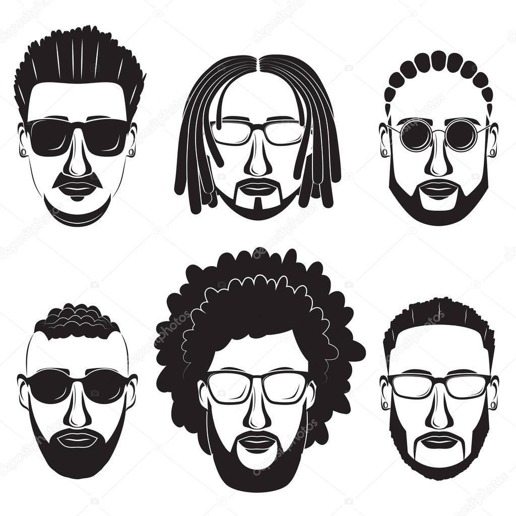 Hipster Bärtige Afrikanische Männer Mit Verschiedenen Frisuren