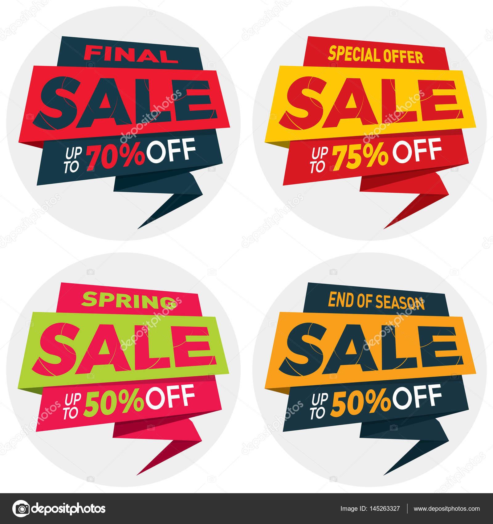 Sale label price tag banner badge template sticker design  — Stock