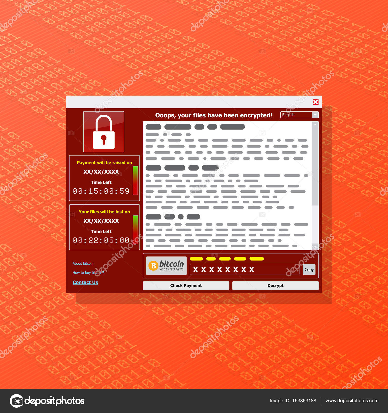 Virus Malware Ransomware wannacry encrypted your files and requi