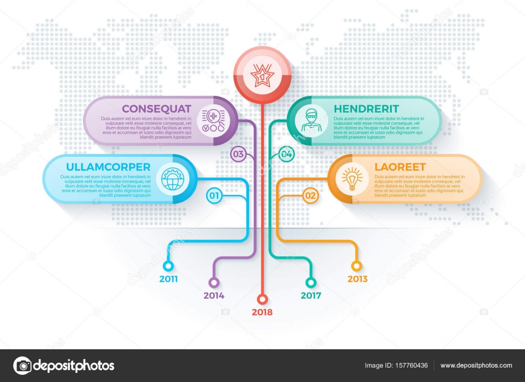 Tree Infographics Template With 4 Branches Options And Root Tre