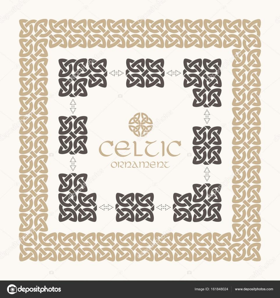 Nudo celta trenzado kit de ornamento de frontera marco — Vector de ...