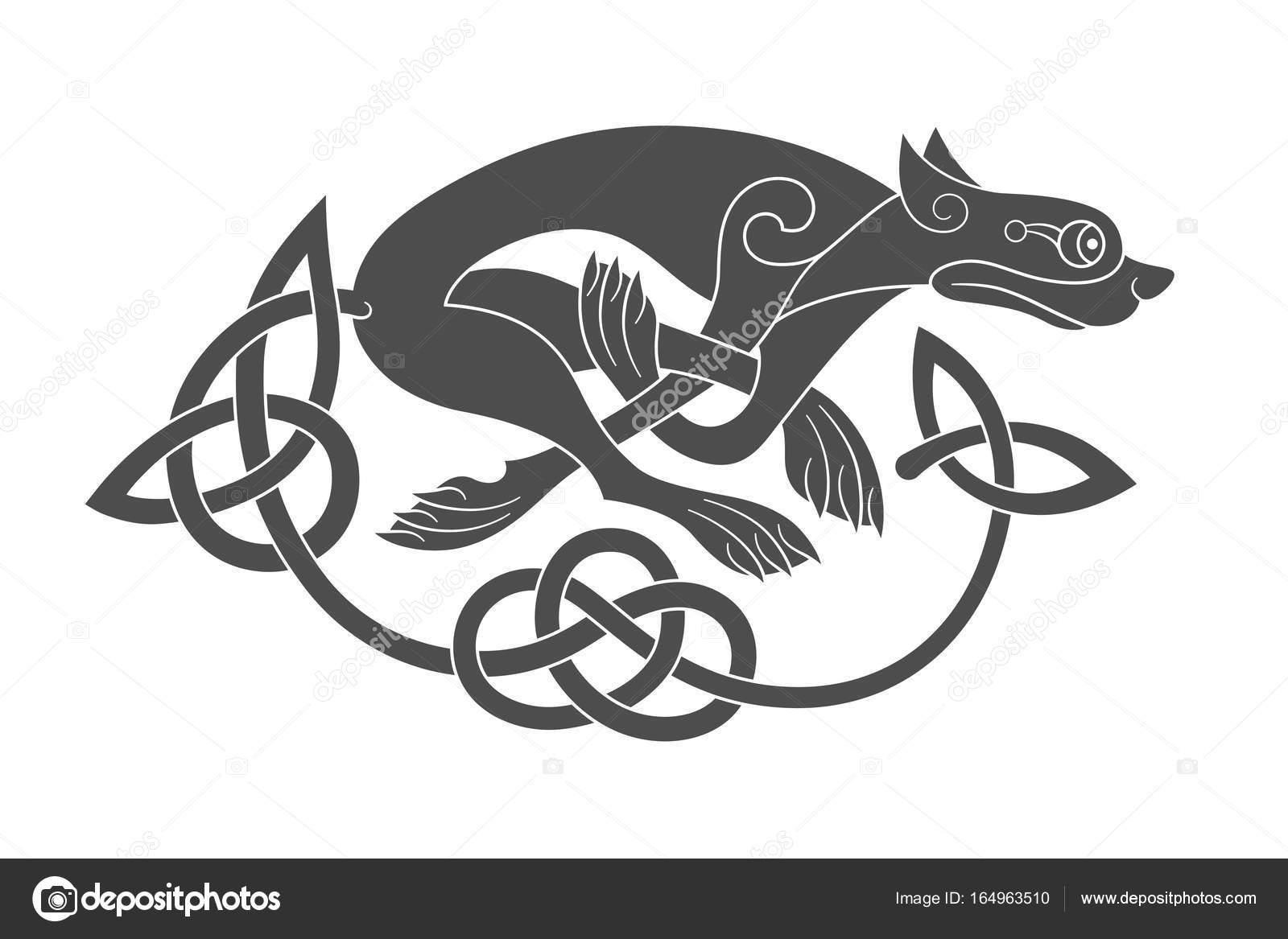 ancien symbole mythologique celtique de loup chien b te. Black Bedroom Furniture Sets. Home Design Ideas