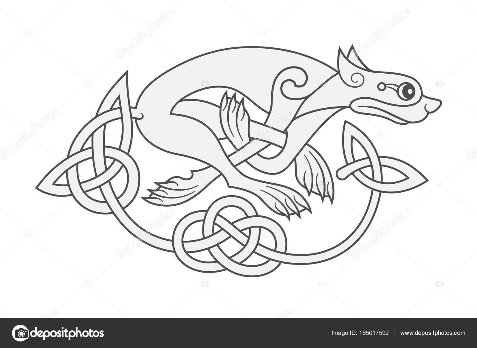 Ancient Celtic Mythological Symbol Of Wolf Dog Beast Stock