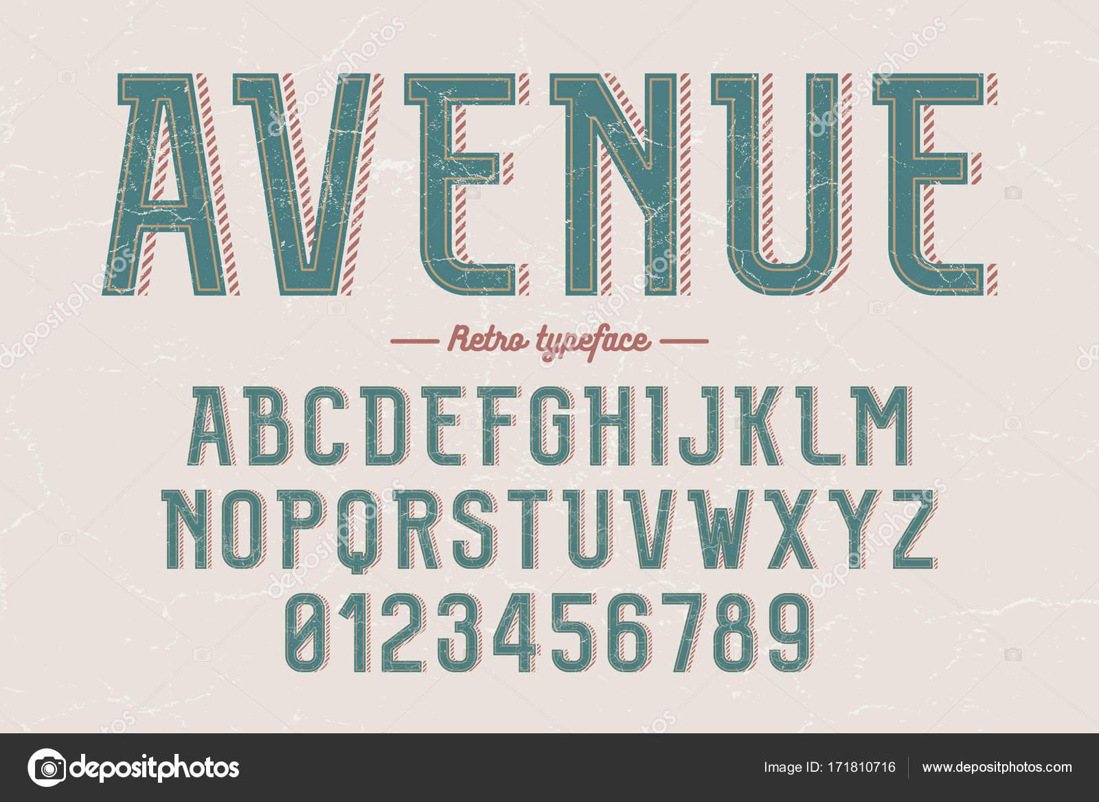 Typeface retrô vintage de vetor decorativos, fontes, letras do
