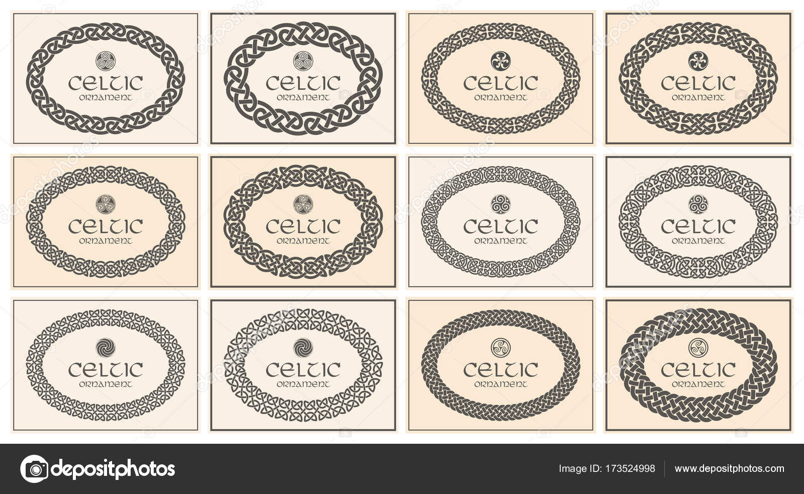 Keltischer Knoten geflochten ovalen Rahmen Grenze Ornament. A4 ...