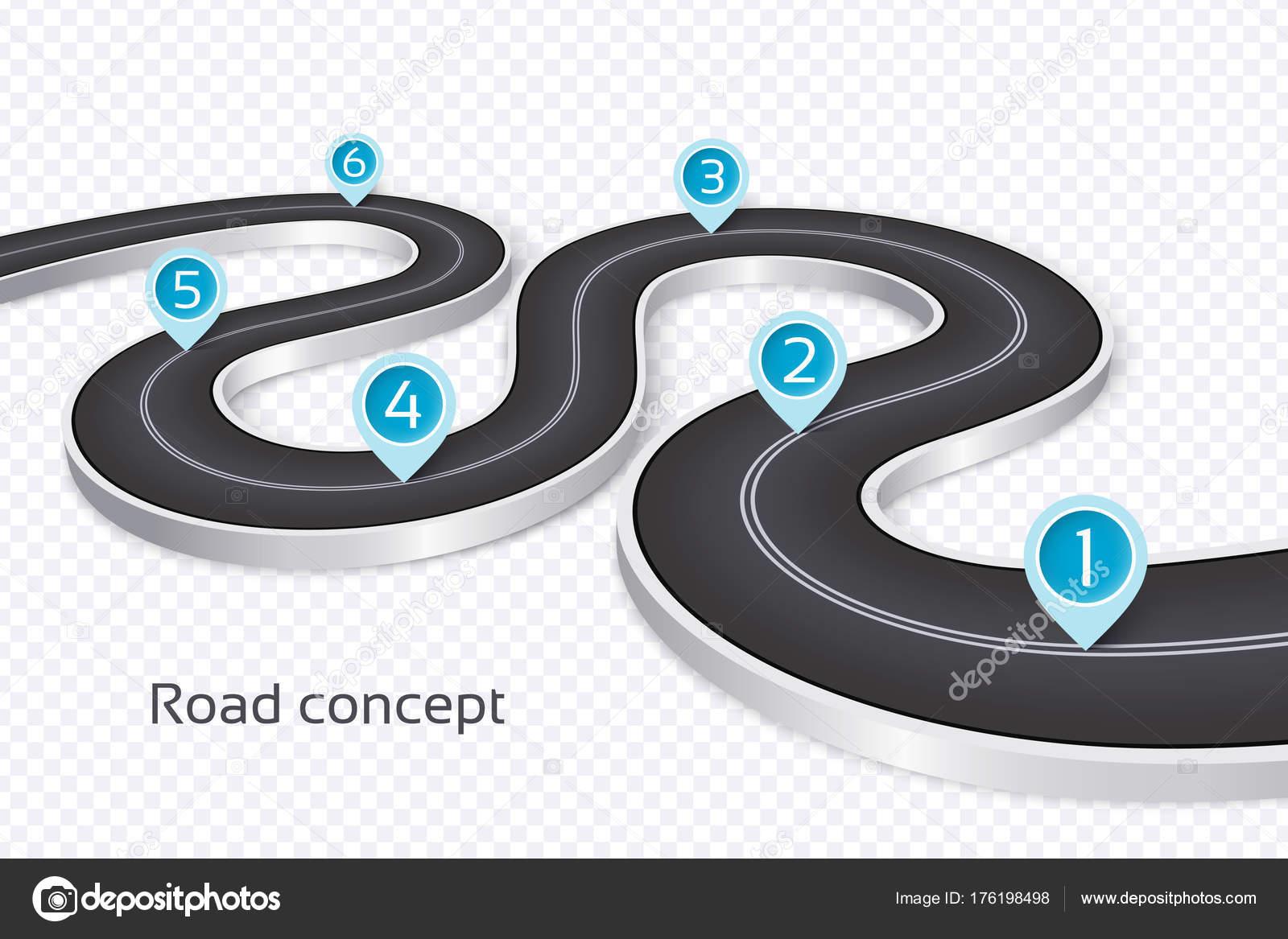 Kurvige Straße Infografik 3D-Konzept auf weißem Hintergrund. Timel ...