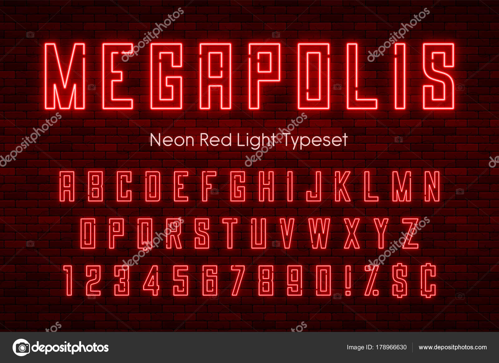 Megapolis neon light alphabet, realistic extra glowing font