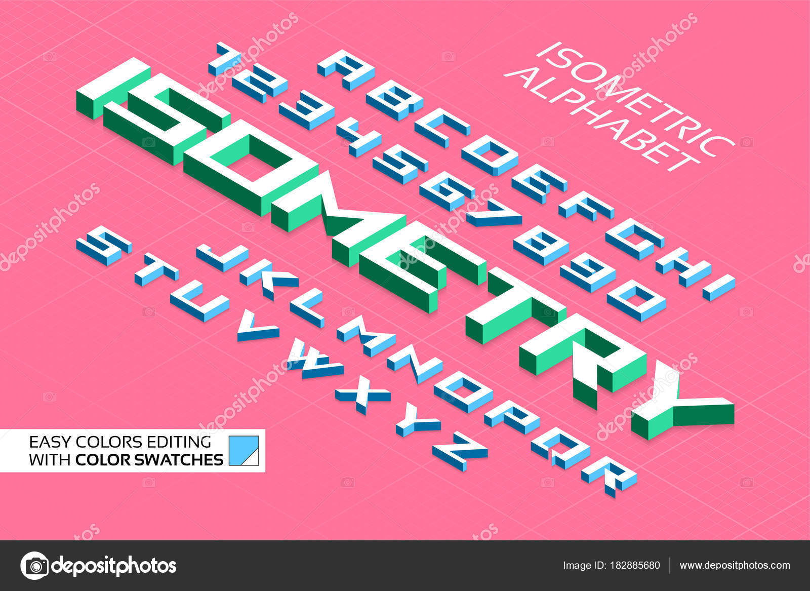 Isometric alphabet. 3d letters and numbers — Stock Vector ...