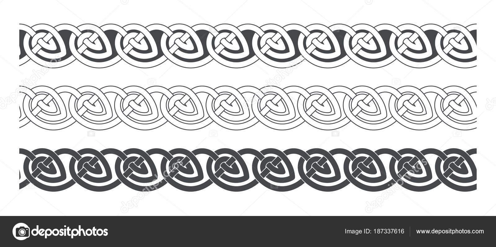 Nudo celta trenzado ornamento del marco de la frontera — Archivo ...