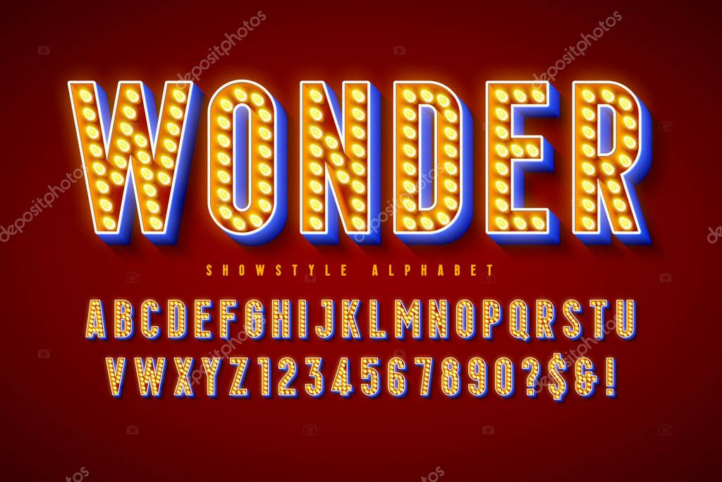 Retro Cinema Font Design Cabaret Led Lamps Letters And Numbers Swatches Color Control Premium Vector In Adobe Illustrator Ai Ai Format Encapsulated Postscript Eps Eps Format