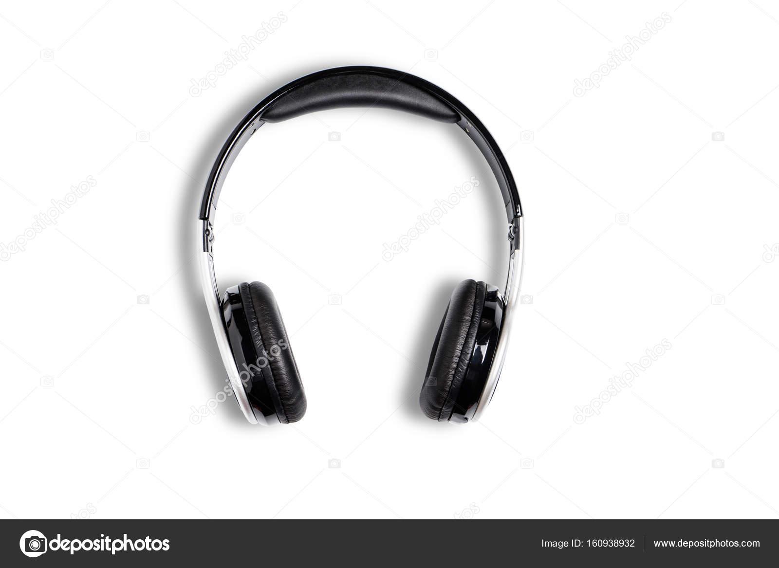 Audio per cuffie senza fili nero per ascolto isolato su priorità bassa  bianca — Foto di pritsadee 8999abddcb1f