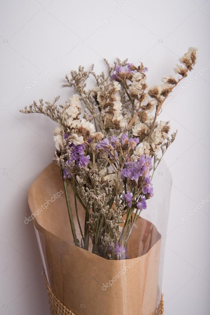 Dry flower bouquet on white background vintage color style — Stock ...